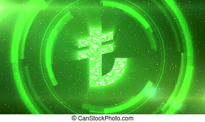 Green Turkish lira currency symbol on space background with circles. Seamless loop.