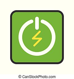 Green Turn on and turn off button, filled outline Flat icon saving energy concept