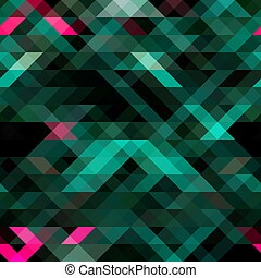 Green turquoise pink black vector illustration of an abstract colorful background that consists of triangles. Pattern with colored triangles on a black background for your business design