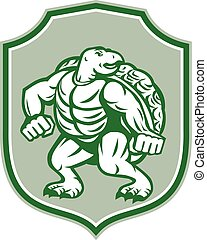 Green Turtle Fighter Mascot Shield Retro - Illustration of a...