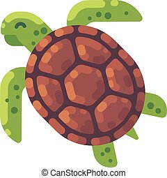Green turtle flat illustration. Sea animal icon