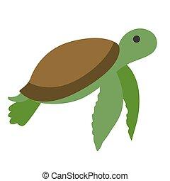 green turtle flat illustration