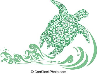Green turtle with hawaiian flower motif and sea waves