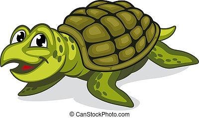 Green turtle reptile - Green smiling turtle reptile in...