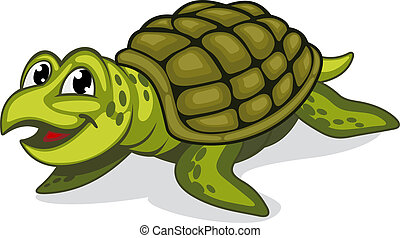 Green turtle reptile - Green smiling turtle reptile in...