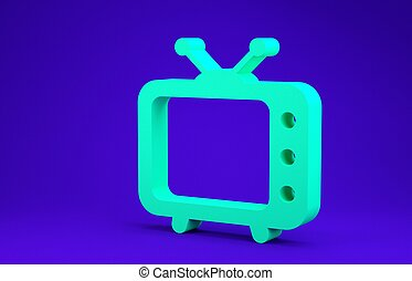 Green Tv icon isolated on blue background. Television sign. Minimalism concept. 3d illustration 3D render