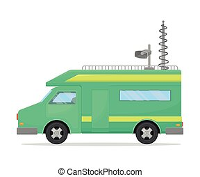 Green TV van with yellow stripes. Vector illustration on white background.