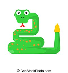 Green twisted snake showing tongue isolated on white