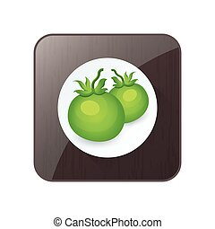 Green two Tomato 3D Icon and button