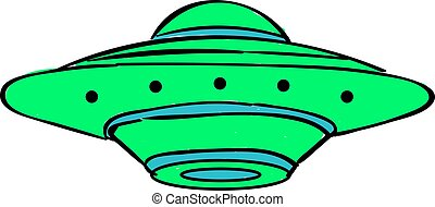 Green UFO, illustration, vector on white background.