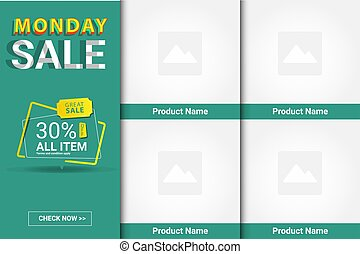 Green ui design ads banner template app or website e commerce vector eps 10