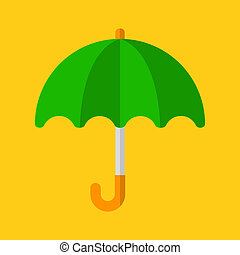 Green Umbrella Icon in Flat Design Style. Vector