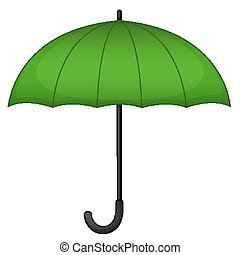 Green umbrella on white background