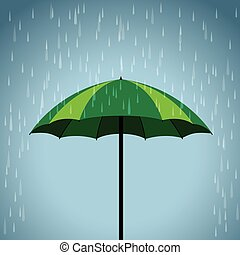 green umbrella rain background