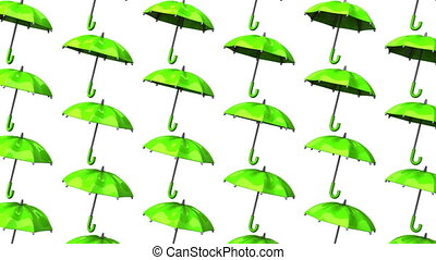 Green Umbrellas On White Background. Loop able 3DCG render...