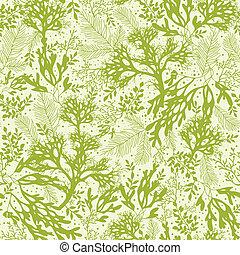 Green underwater seaweed seamless pattern background -...