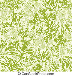 Vector green underwater seaweed seamless pattern background with hand drawn elements.