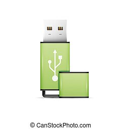 Green universal flash drive isolated on the white background
