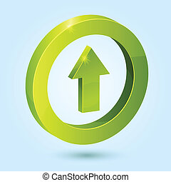 Green up arrow symbol isolated on blue background. This...