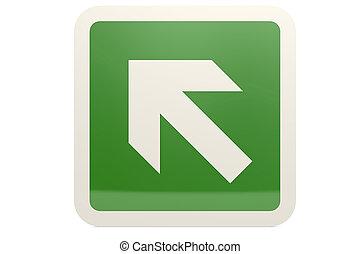Green up left arrow sign