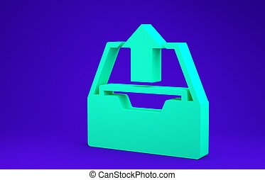 Green Upload inbox icon isolated on blue background. Extract files from archive. Minimalism concept. 3d illustration 3D render