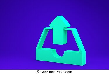 Green Upload inbox icon isolated on blue background. Minimalism concept. 3d illustration 3D render