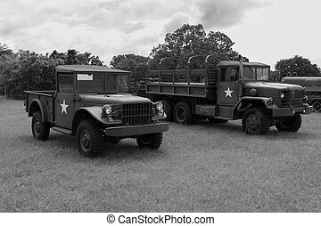 Green US Army Military Vehicles on display