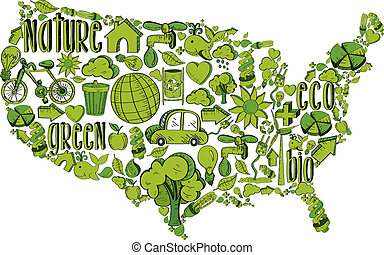 Green USA with environmental icons