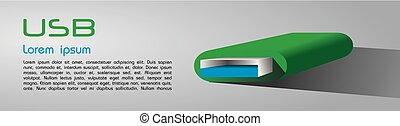 Green USB 3D vector illustration on grey background