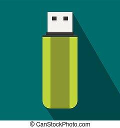 Green USB flash drive icon, flat style