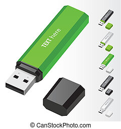 USB Flash Drive - Green USB Flash Drive vector icons