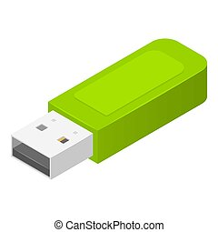 Green usb flash icon, isometric style