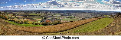 Green valley and golden fields, landscape panorama, Kalnik,...