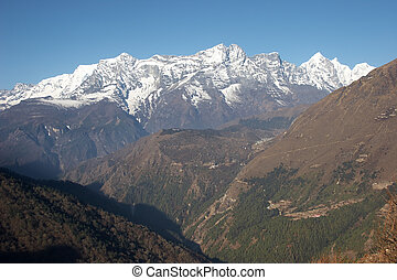Green valley at Everest trail, Himalaya, Nepal - View from...