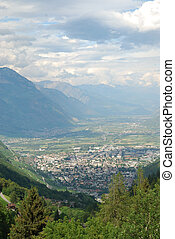 Green valley of Martigny in the Swiss Alps.