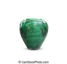 Ceramic green vase isolated on white background.