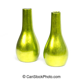 Green vases isolated