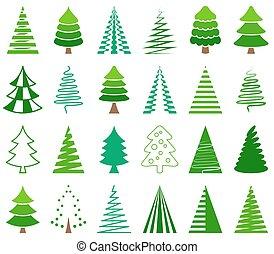Green vector abstract christmas tree icons