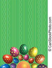 Green vector background with colorful easter eggs