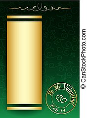 green vector background with golden decorations for valentine day