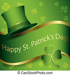 green vector background with hat and clover - happy st patrick day
