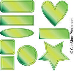 Green vector button set