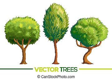 Green vector cartoon style trees set