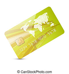Green Vector Credit Card Illustration Isolated on White Background