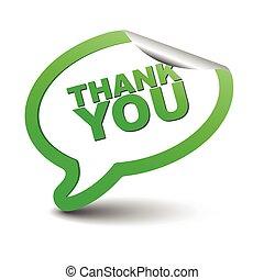 green vector element bubble thank you