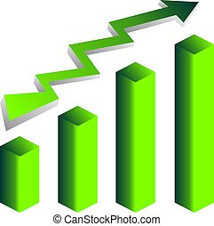 Green vector growth graph icon with arrow move up.