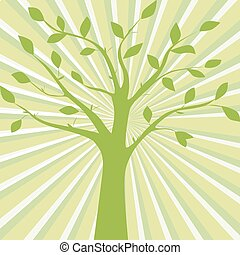 Green vector illustration of tree silhouette on the abstract background