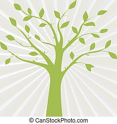 Green vector illustration of tree silhouette on the abstract gray background