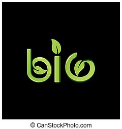 Green vector letters icon. word bio vector