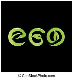 Green vector letters icon. word eco vector
